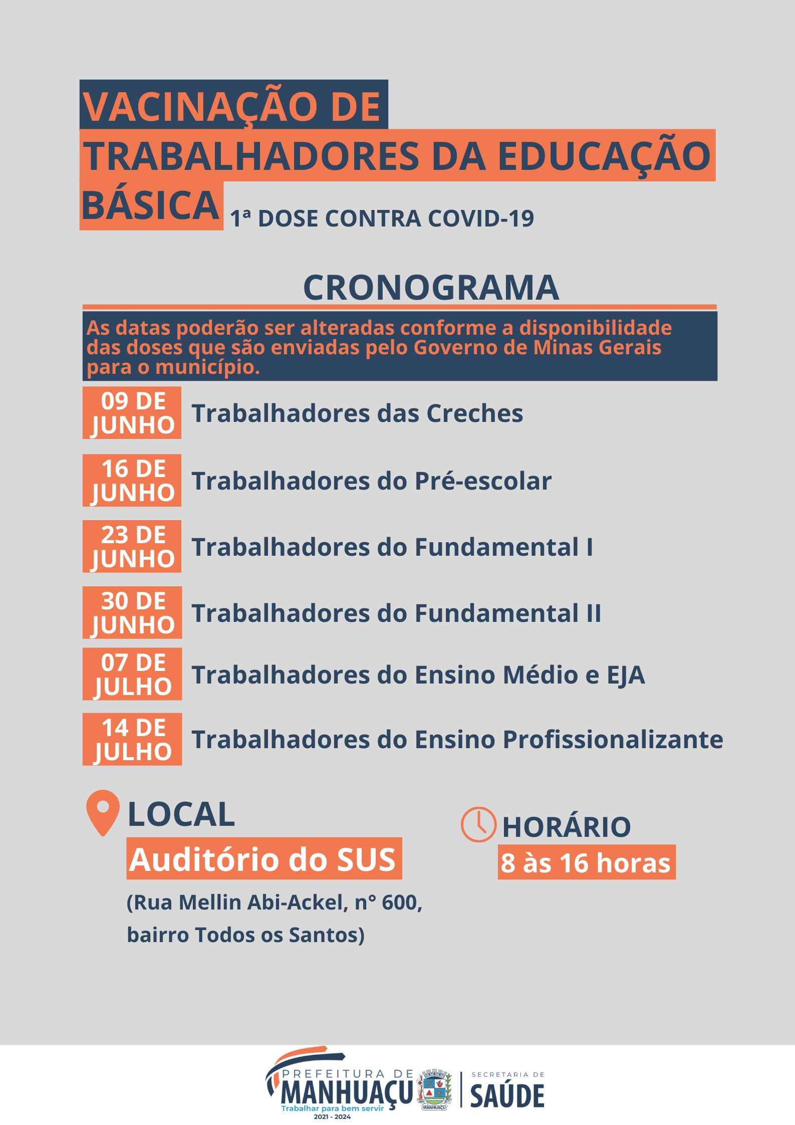 Prefeitura Municipal De Manhuacu Prefeitura De Manhuacu Divulga Calendario De Vacinacao De Trabalhadores Da Educacao Basica